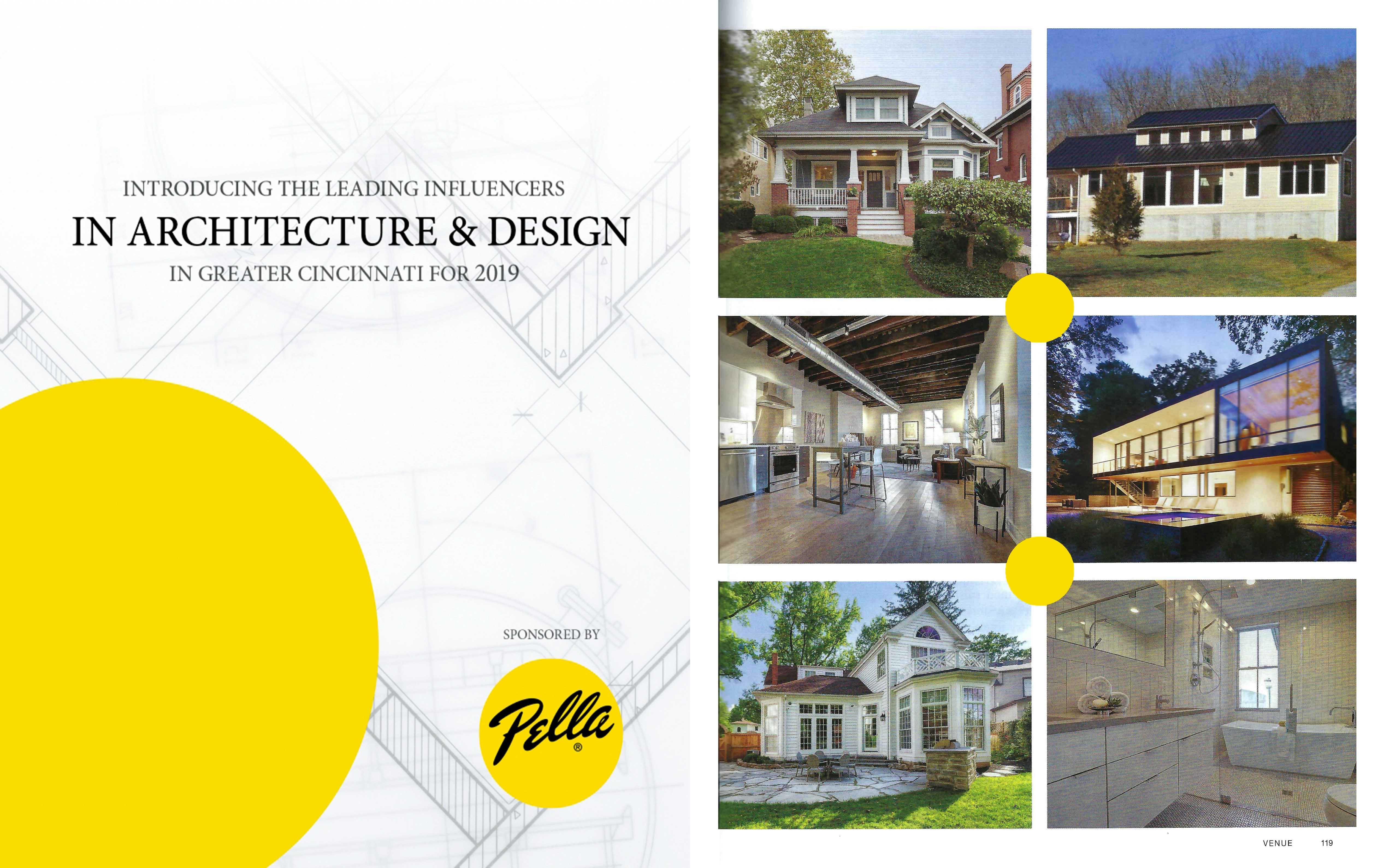 Venue Magazine article spread featuring Wilcox Architecture as a Leading Influencer in Architecture & Design in Greater Cincinnati