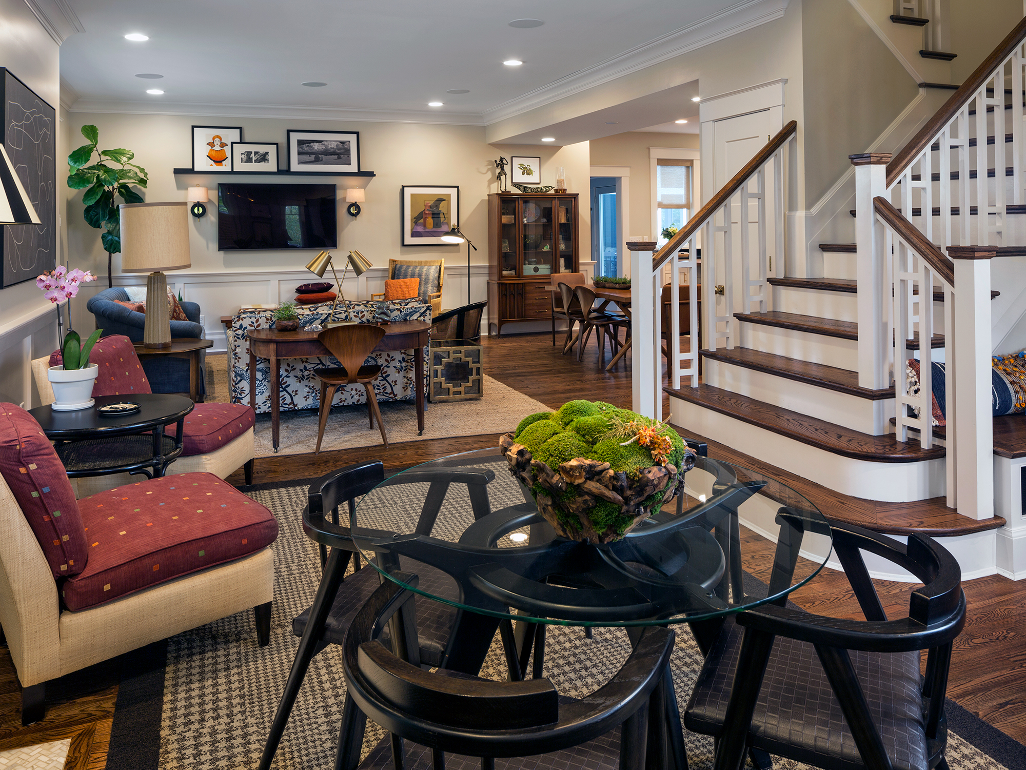 Remodeled stairs and open floorplan