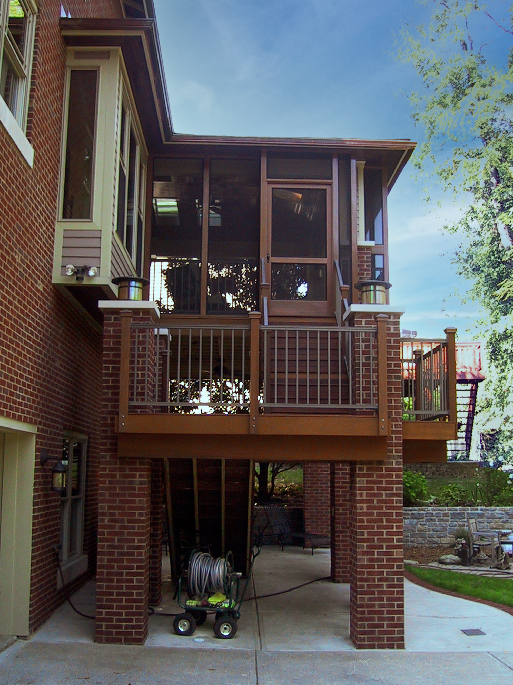 Brick and cedar screened porch addition side view