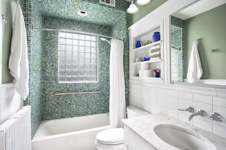 Bathroom remodel: glass block, glass tile, built-in shelves, custom vanity, Wilcox Architecture