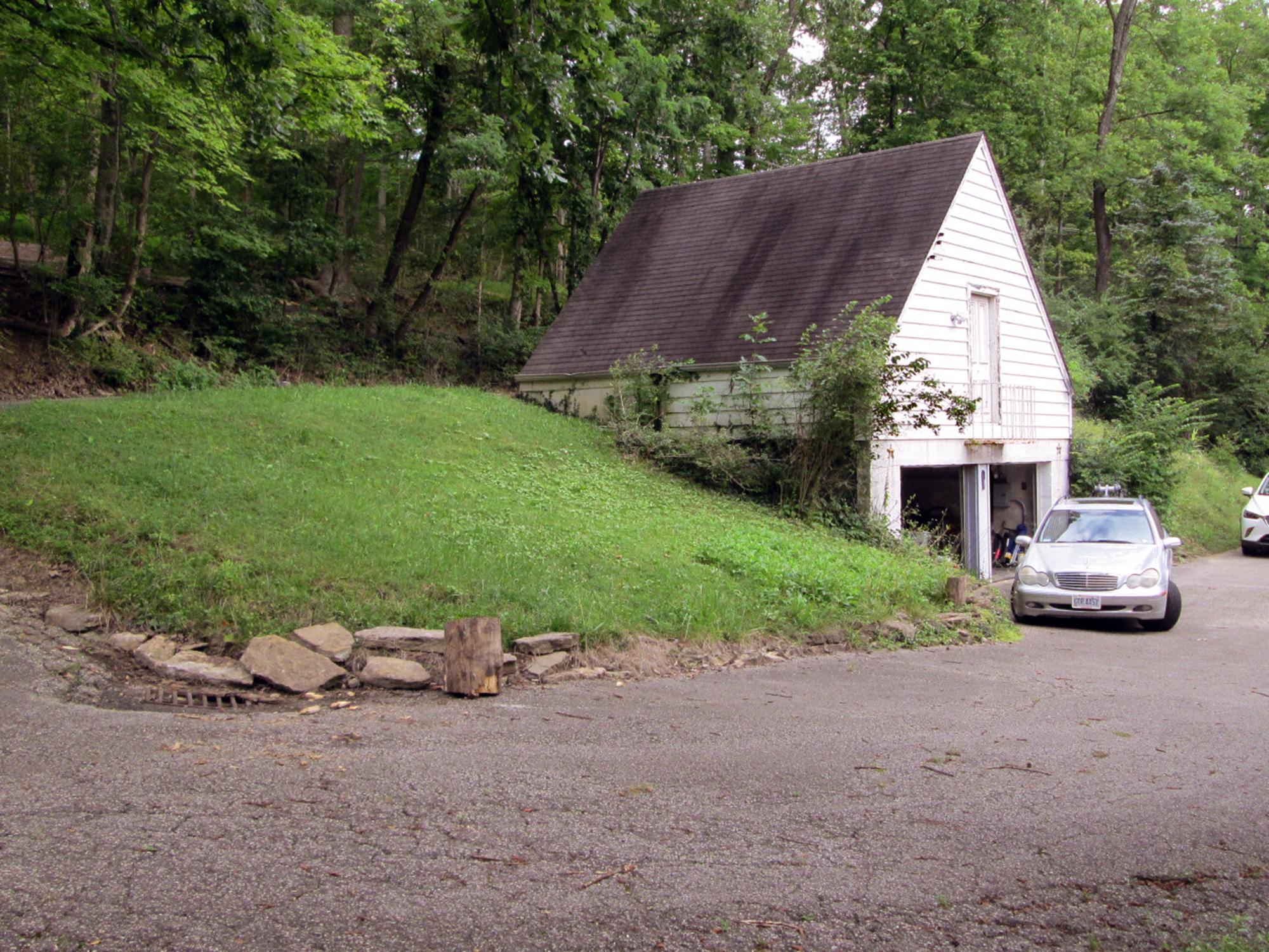 Garage on hillside