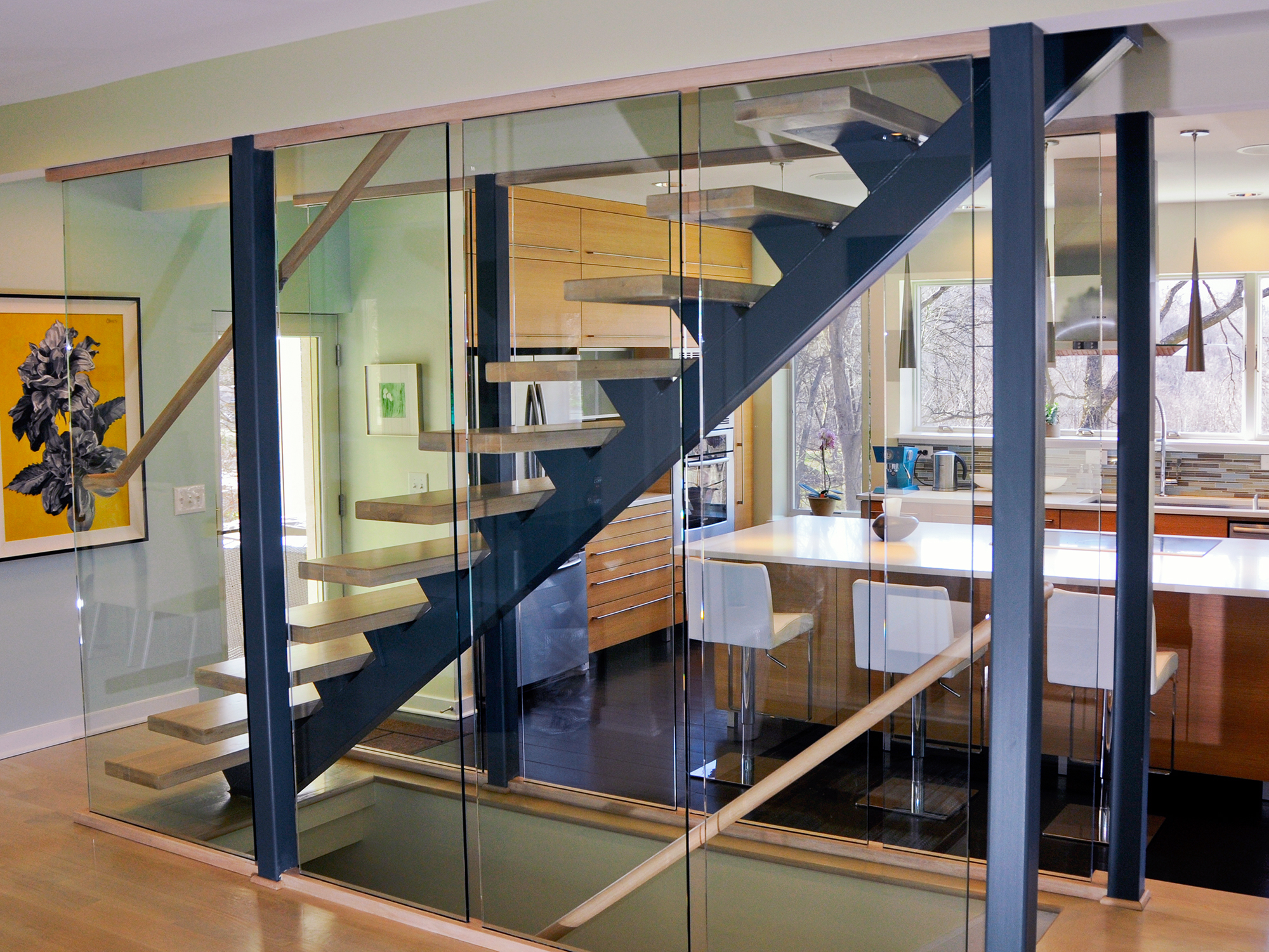 Glass enclosed staircase