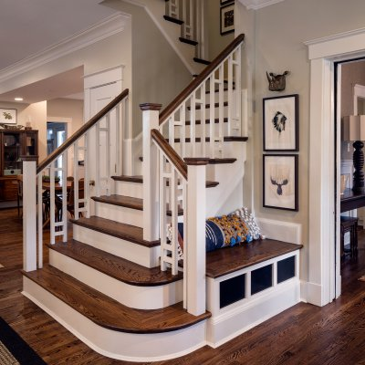 Remodeled open stairs with built-in bench
