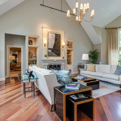 great room with master suite behind