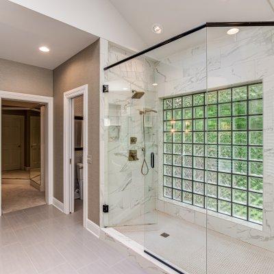 master bathroom glass block wall in shower