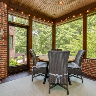 screened porch with view of pool patio