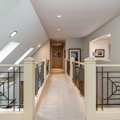 bridge spanning kitchen toward bedrooms