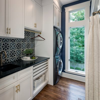 Laundry Room with tile backsplash Residential Architecture