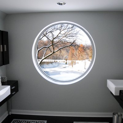 Master bathroom picture window view of pond and trees