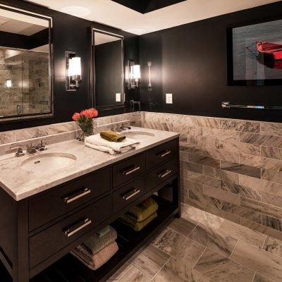 Mt. Adams condo renovation master bath black and white tile Wilcox Architecture