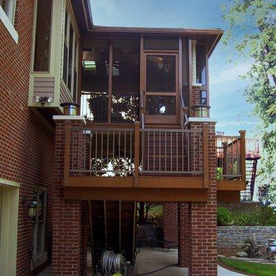 Side view cedar and brick screened porch Cincinnati Residential
