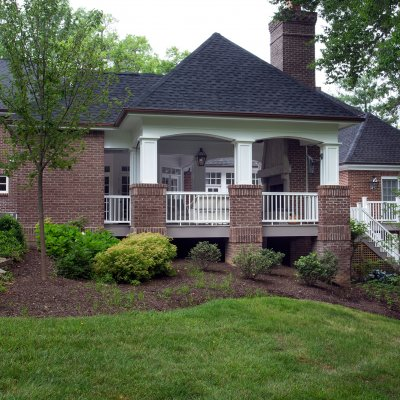 Covered porch addition brick piers