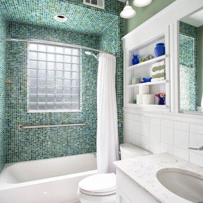 bathroom renovation glass block, glass tile, built in shelves residential