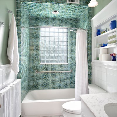 blue and green glass tile shower