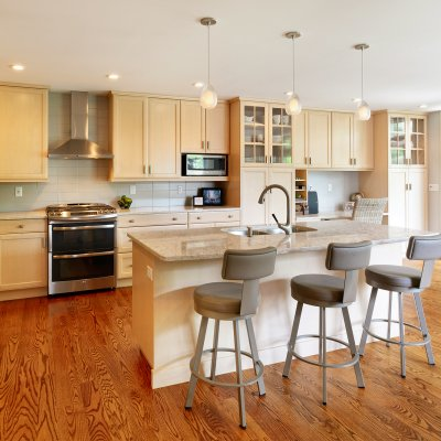 residential kitchen renovation island and with sink and stools Wilcox Architecture