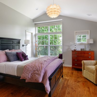 bedroom addition large windows sloped roof Wilcox Architecture