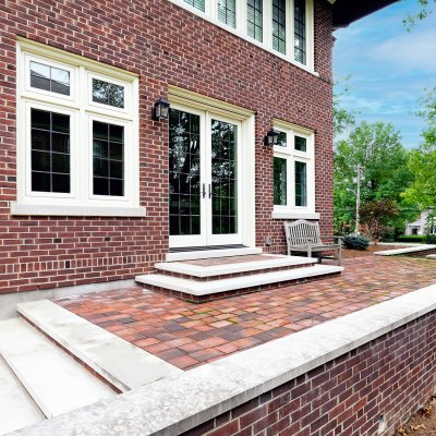 Brick walled patio