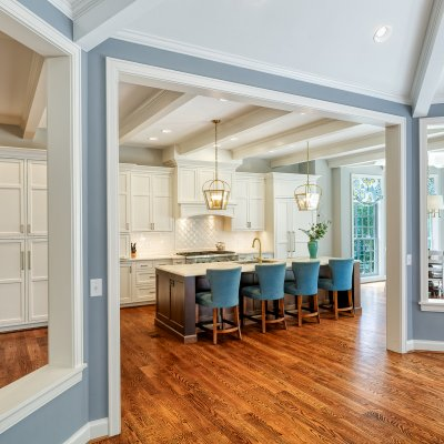 dramatic opening to eating area in kitchen