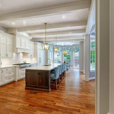 kitchen with paneled ceiling and sunny breakfast nook
