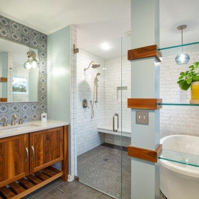 Master Bathroom addition glass shower doors, built-in shower bench