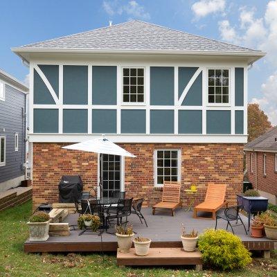 Rear exterior second floor addition Mt. Lookout brick, Tudor style trim Wilcox Architecture