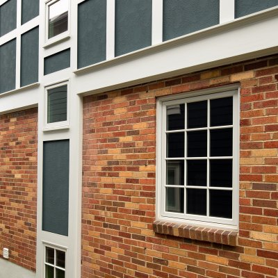 Exterior detail brick, Tudor-style trim