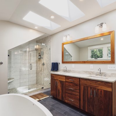 Bathroom Addition with skylights Wilcox Architecture
