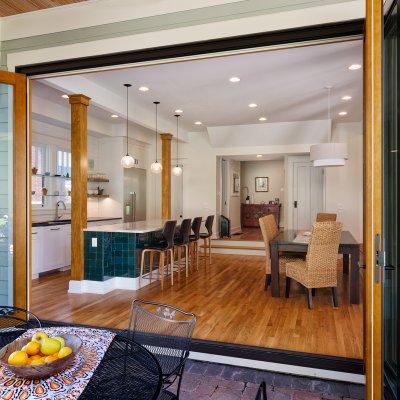 Patio, kitchen, dining area