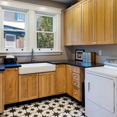 Original kitchen converted to first floor laundry room Wilcox Architecture