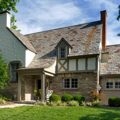 covered front porch addition Hyde Park Tudor residential architect Wilcox Architecture