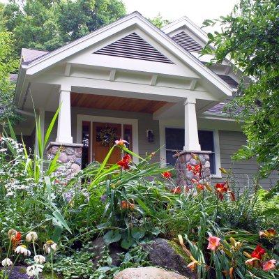 Front door with perennial shade garden Glen Arbor Wilcox Architecture