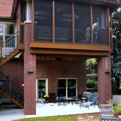 Upper and lower level porches