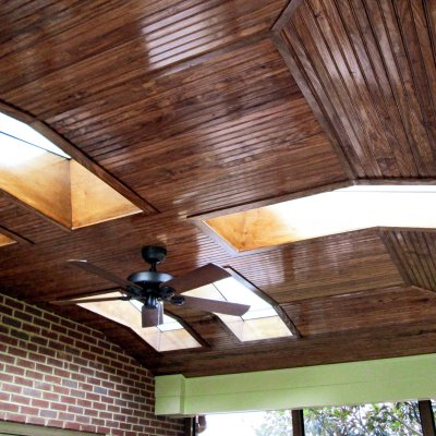Beadboard ceiling with skylights