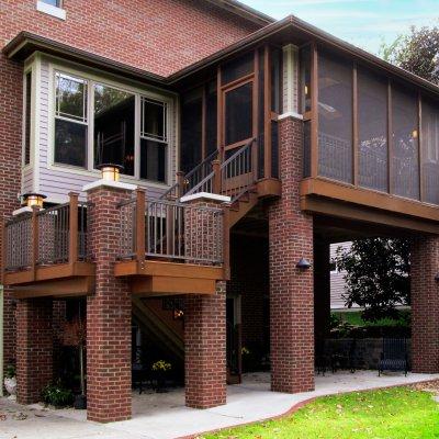 Cedar and brick screened porch