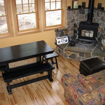 Fireplace with stone hearth