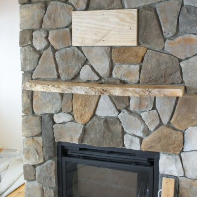 stone fireplace during construction