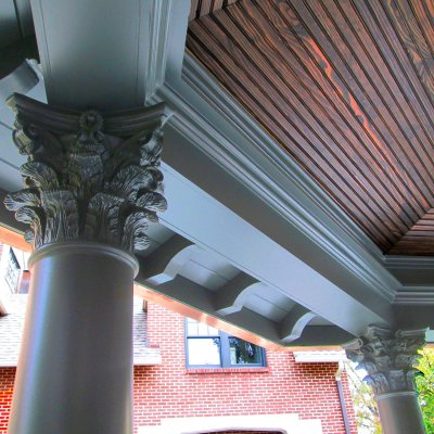 detail of pavilion column and beadboard ceiling Hyde Park residential architecture Cincinnati