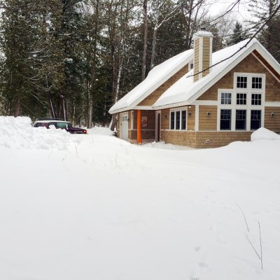 Snowy Northern Michigan Lake cottage lake side