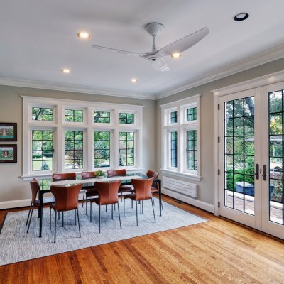 West wing second-floor addition dining area, leaded glass windows