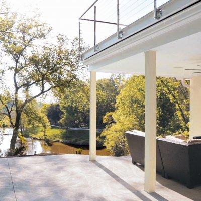 Patio overlooking pond