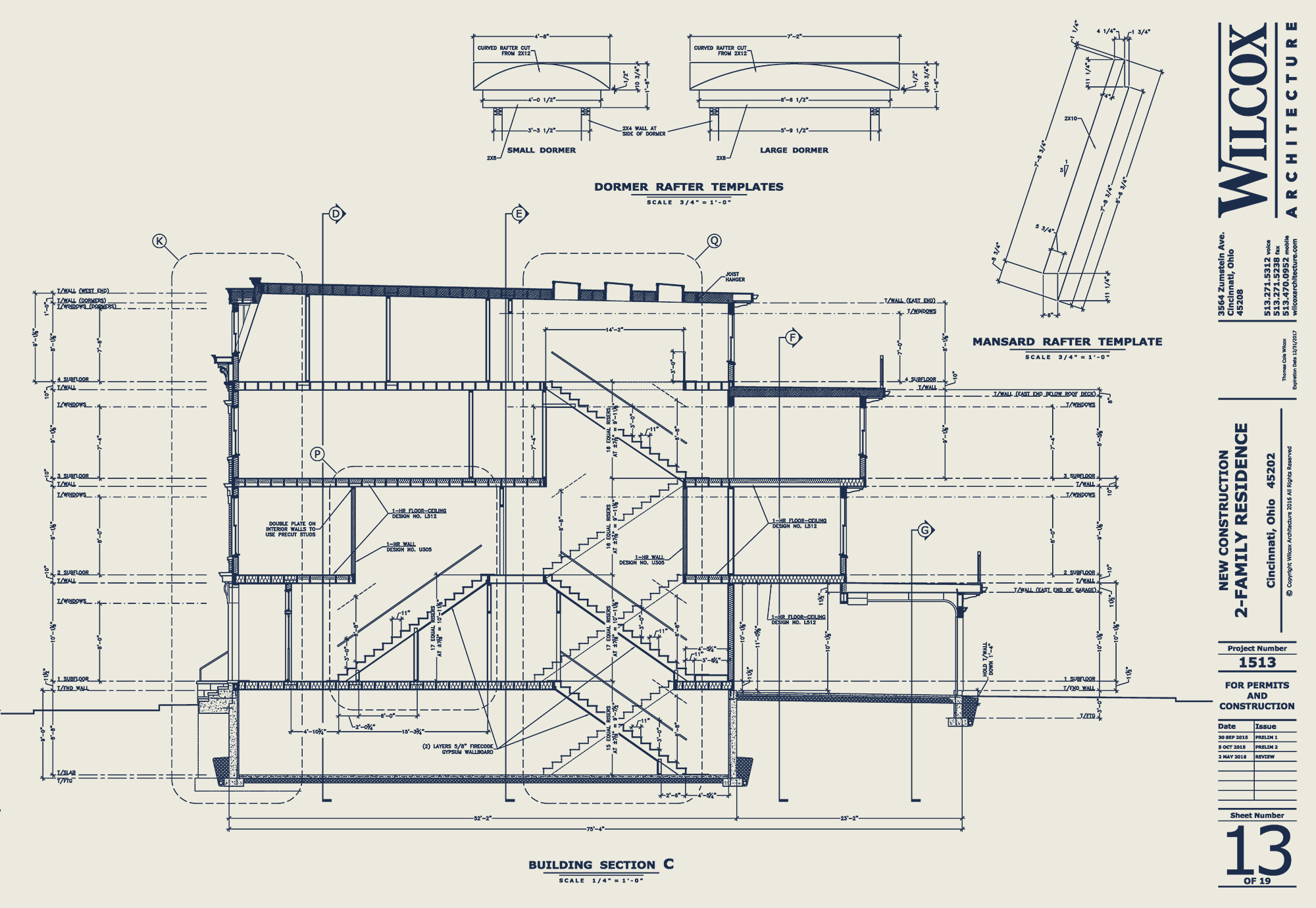 Wilcox Architecture building section drawing detailing stairways Residential Architecture