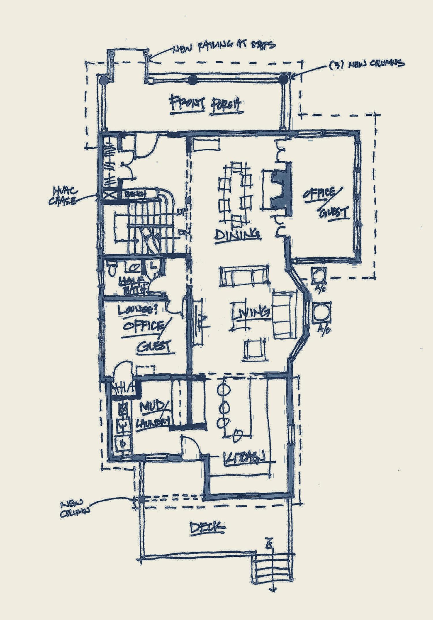 hand drawn floor plan design sketch